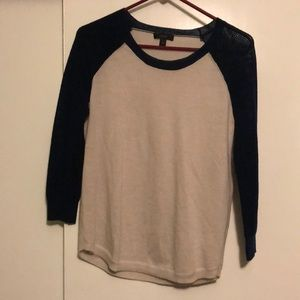 J Crew 3/4 sleeve tee with knit sleeves xsmall